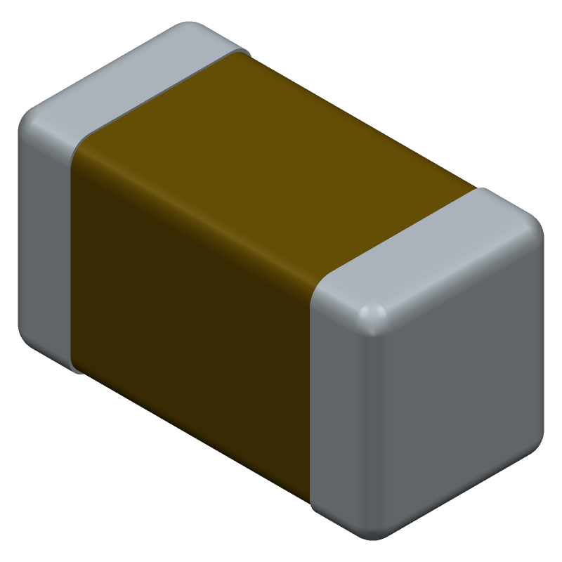 Murata Electronics GRM31CR71H475KA12L (Capacitor Chip Non-polarised) 3D model isometric projection.