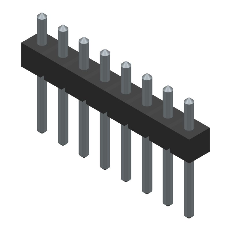 Molex 90120-0768 (Header, Vertical) 3D model isometric projection.