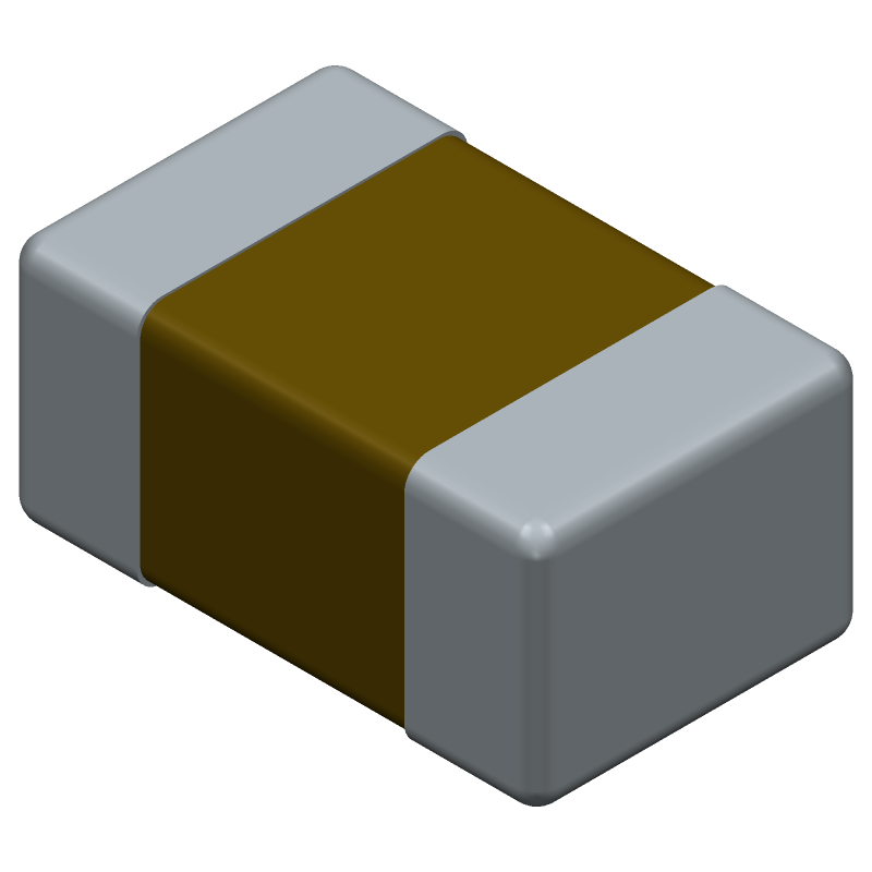 AVX 08055A101JAT2A (Capacitor Chip Non-polarised) 3D model isometric projection.