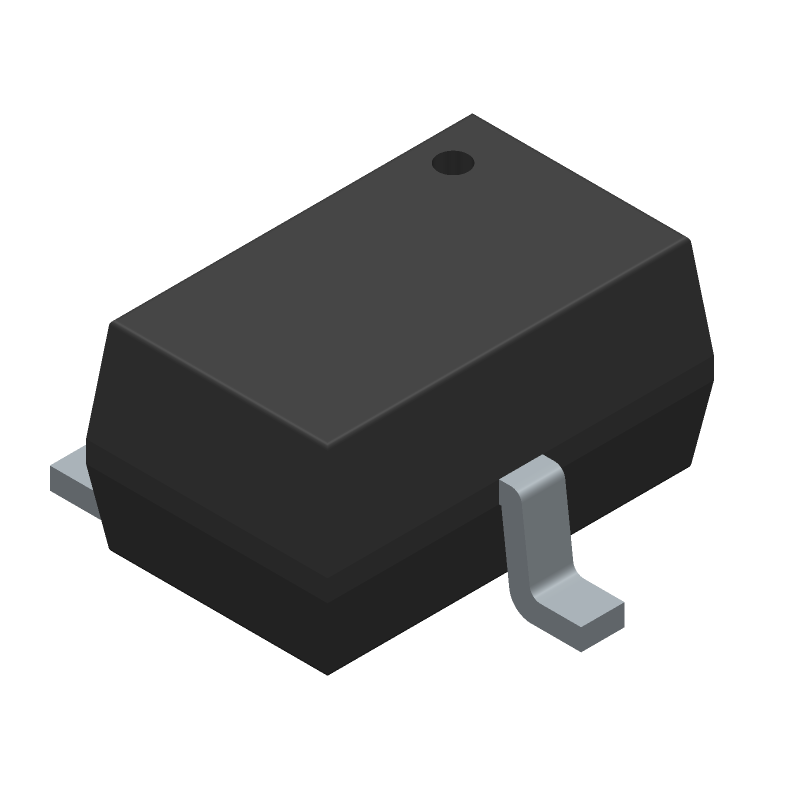 2N7002KW - Fairchild Semiconductor - 3D model - SOT23 (3-Pin) - SC−70, 3 Lead, 1.25x2 CASE 419AB−01 ISSUE O-1