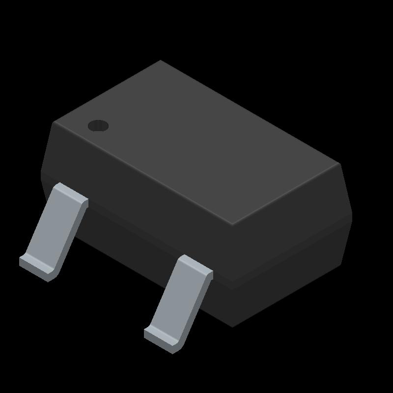Infineon BSS138WH6327XTSA1 (SOT23 (3-Pin)) 3D model isometric projection.