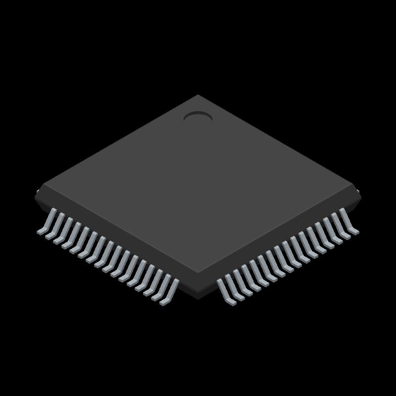 STM32F401RET6U - STMicroelectronics - 3D model - Quad Flat Packages - LQFP64-10 x 10 mm 64 pin