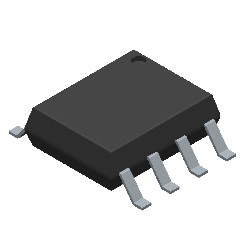 Texas Instruments SN65HVD230DR (SOT23 (8-Pin)) 3D model isometric projection.