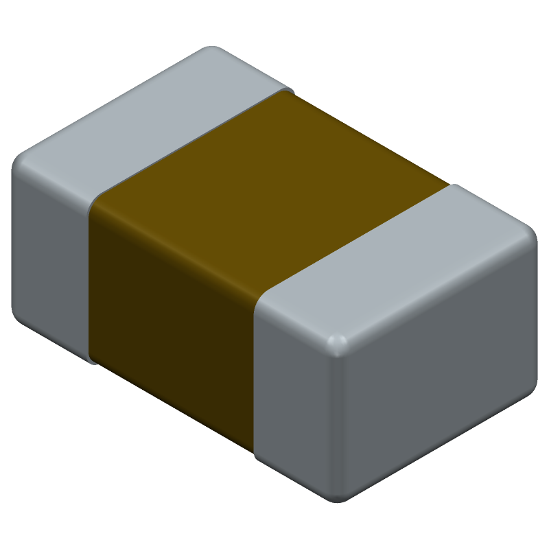 Kemet C0805C100J5GACTU (Capacitor Chip Non-polarised) 3D model isometric projection.