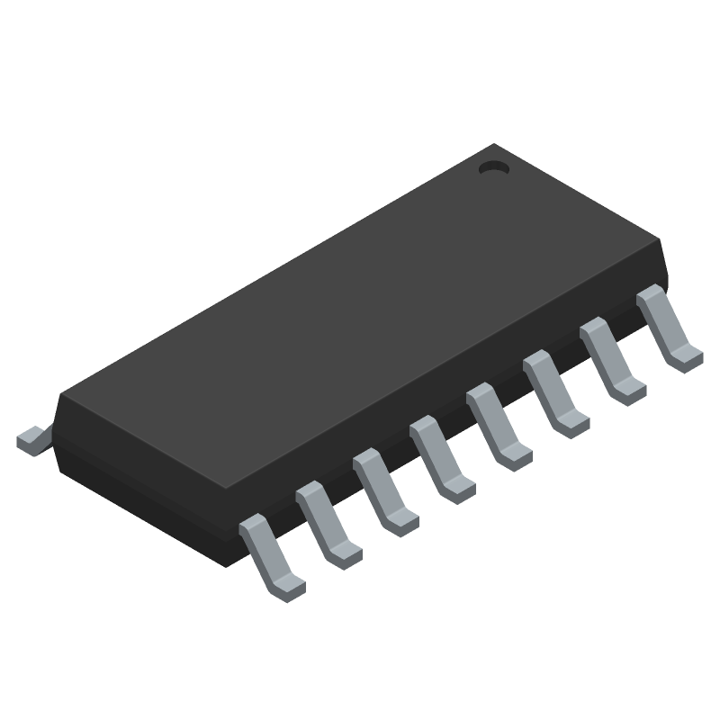 Diodes Inc. PAM8403DR (Small Outline Packages) 3D model isometric projection.