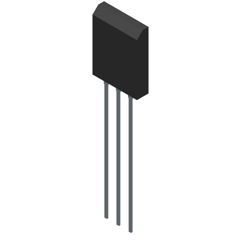 STMicroelectronics 2SC5200 (Transistor Outline, Vertical) 3D model isometric projection.