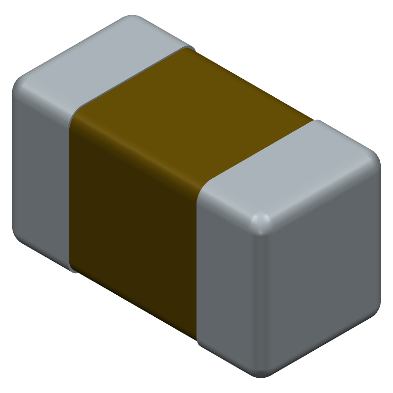 AVX 04026D206MAT2A (Capacitor Chip Non-polarised) 3D model isometric projection.
