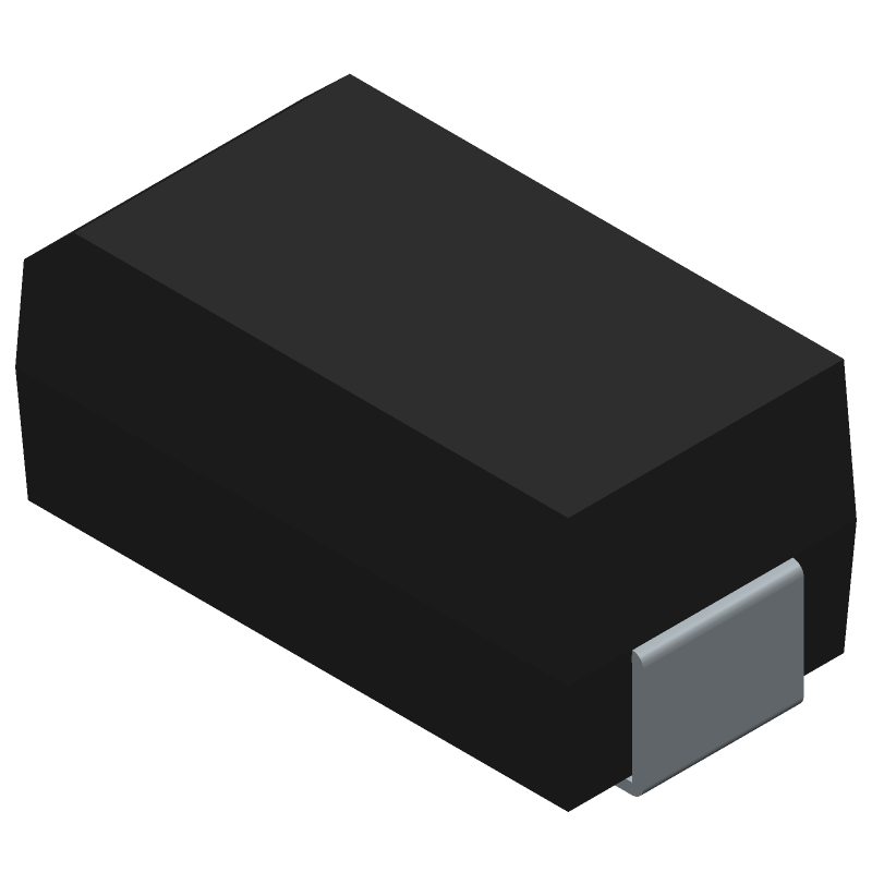 Diodes Inc. B360A-13-F (Diodes Moulded) 3D model isometric projection.