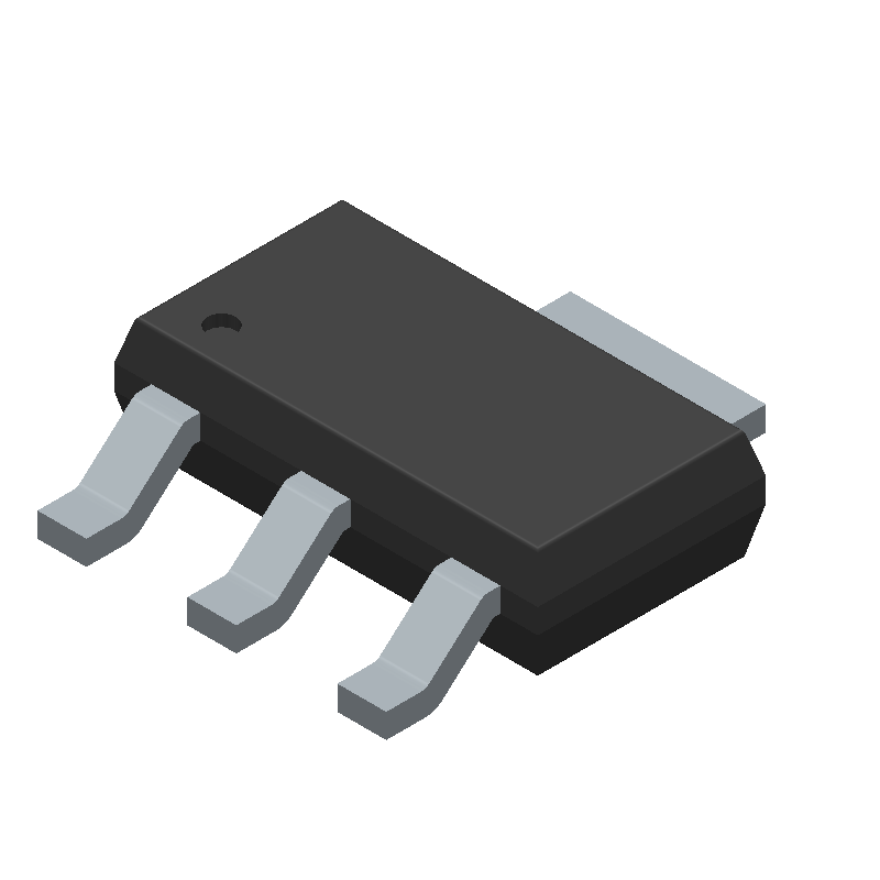 LM1117IMPX-3.3/NOPB - Texas Instruments - 3D model - SOT223 (3-Pin) - LM1117IMPX-3.3/NOPB