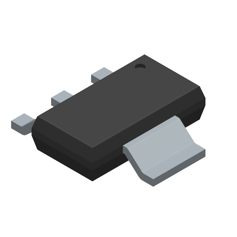 Texas Instruments LM1117IMPX-3.3/NOPB (SOT223 (3-Pin)) 3D model isometric projection.