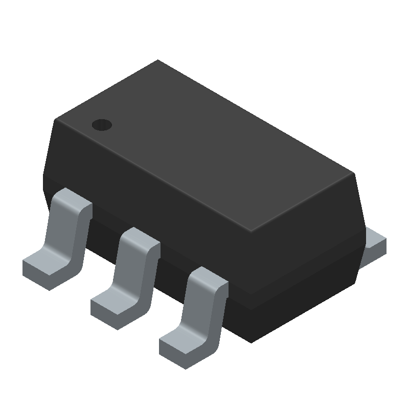 Microchip MIC5504-3.3YM5-TR (SOT23 (5-Pin)) 3D model isometric projection.