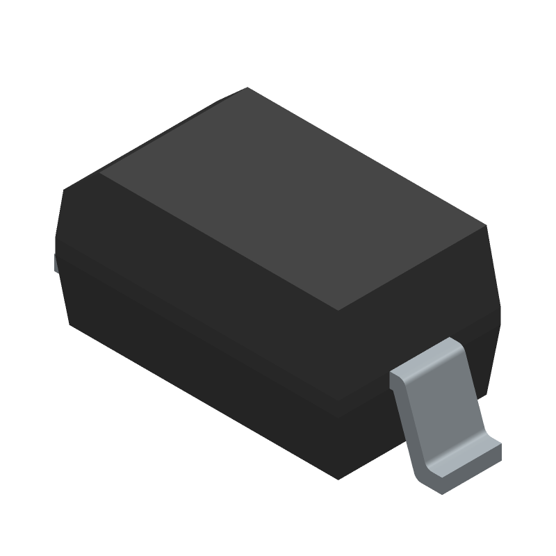 Diodes Inc. 1N4148WQ-7-F (Small Outline Diode) 3D model isometric projection.