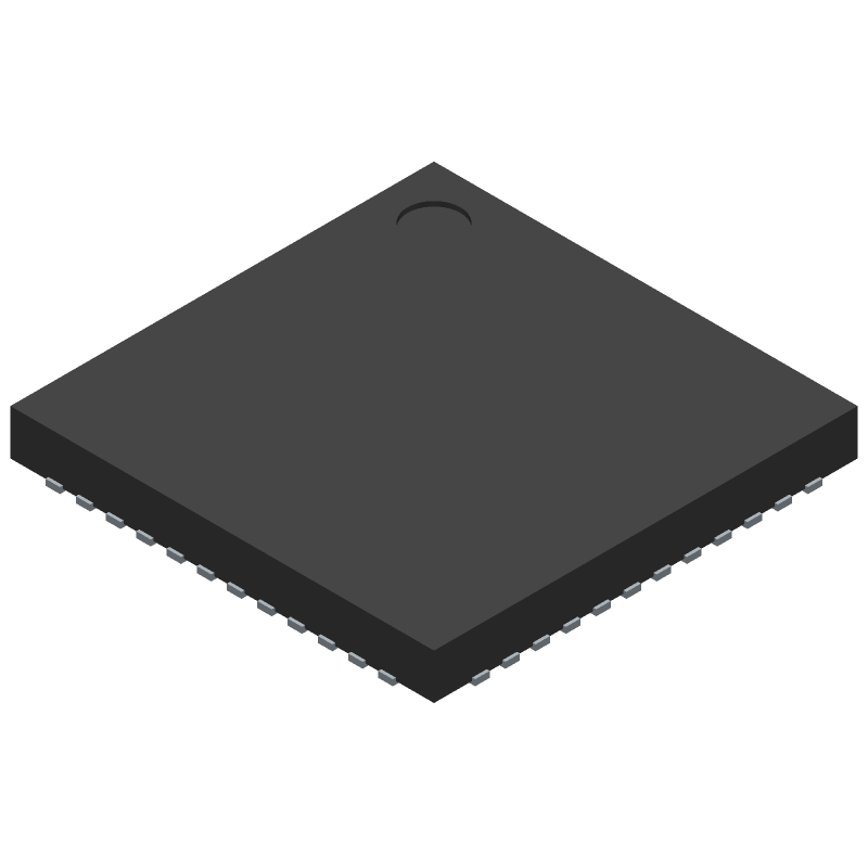 Analog Devices ADP5052ACPZ-R7 (Quad Flat No-Lead) 3D model isometric projection.