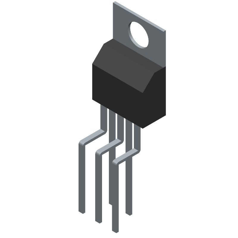 Texas Instruments LM2596T-5.0 (Transistor Outline, Vertical) 3D model isometric projection.
