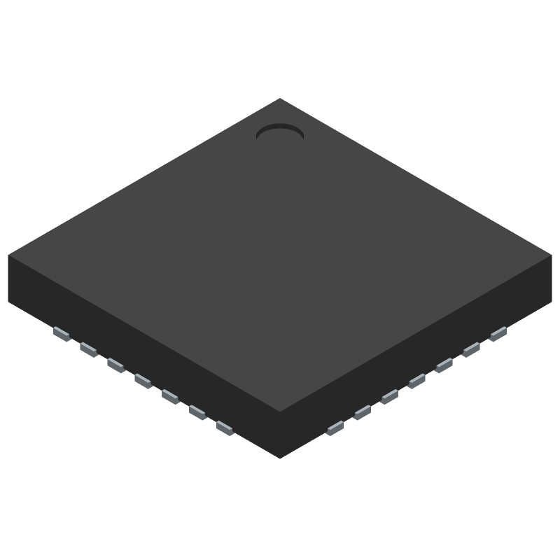 Silicon Labs CP2102N-A01-GQFN28 (Quad Flat No-Lead) 3D model isometric projection.