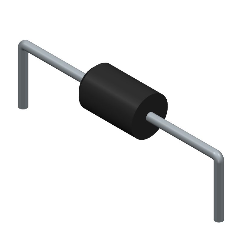 Vishay 1.5KE11CA-E3/54 (Diodes, Axial Diameter Horizontal Mounting) 3D model isometric projection.