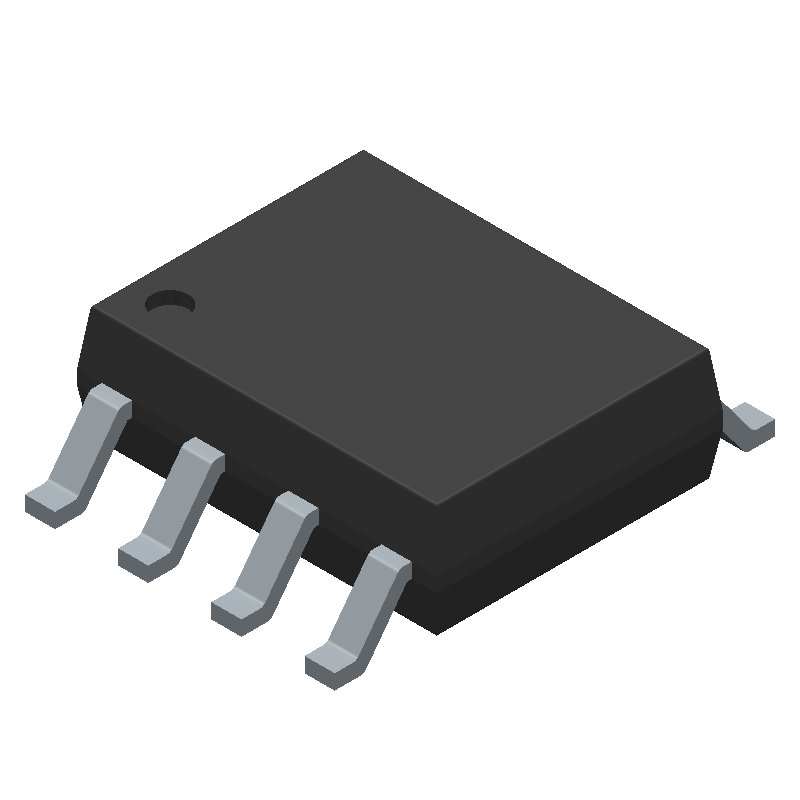 NE555D - Texas Instruments - 3D model - Small Outline Packages - D (R-PDSO-G8)