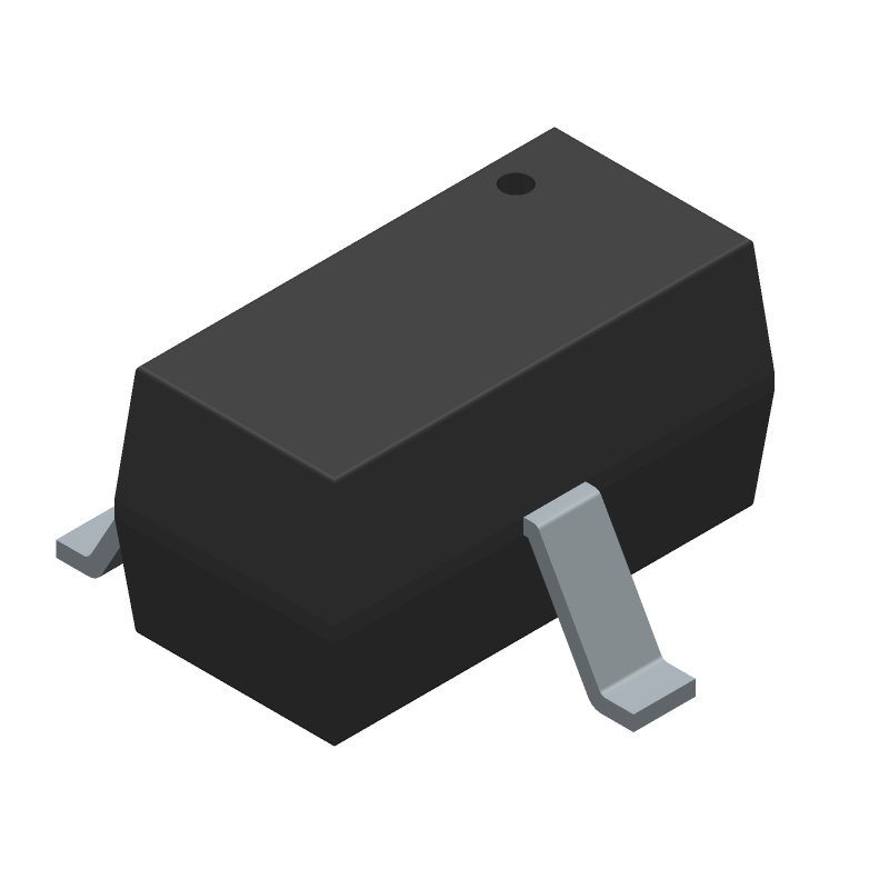 ON Semiconductor BAT54CTT1G (SOT23 (3-Pin)) 3D model isometric projection.