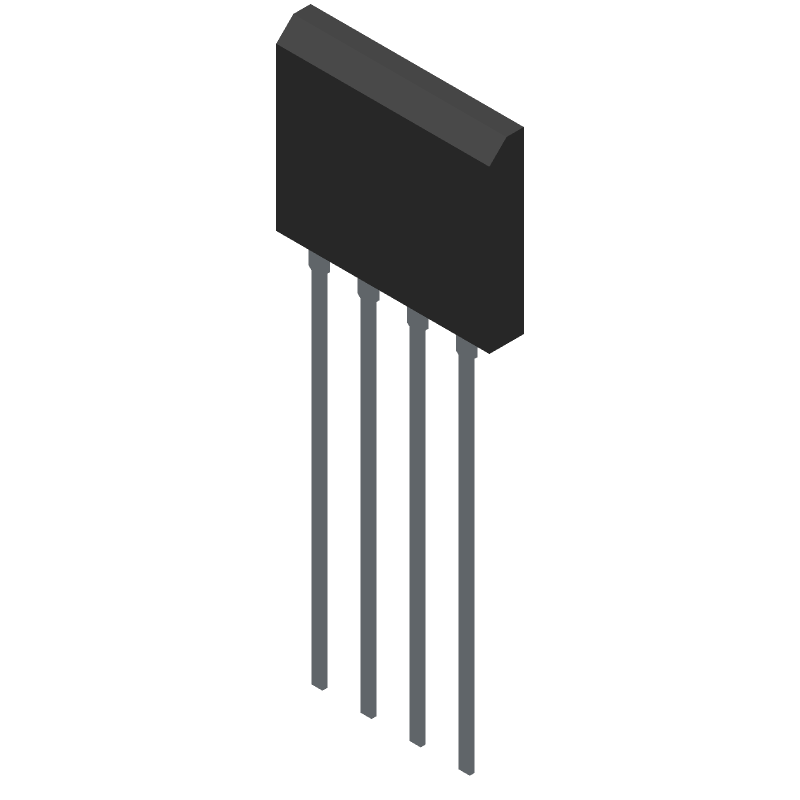 Diodes Inc. GBU801 (Transistor Outline, Vertical) 3D model isometric projection.