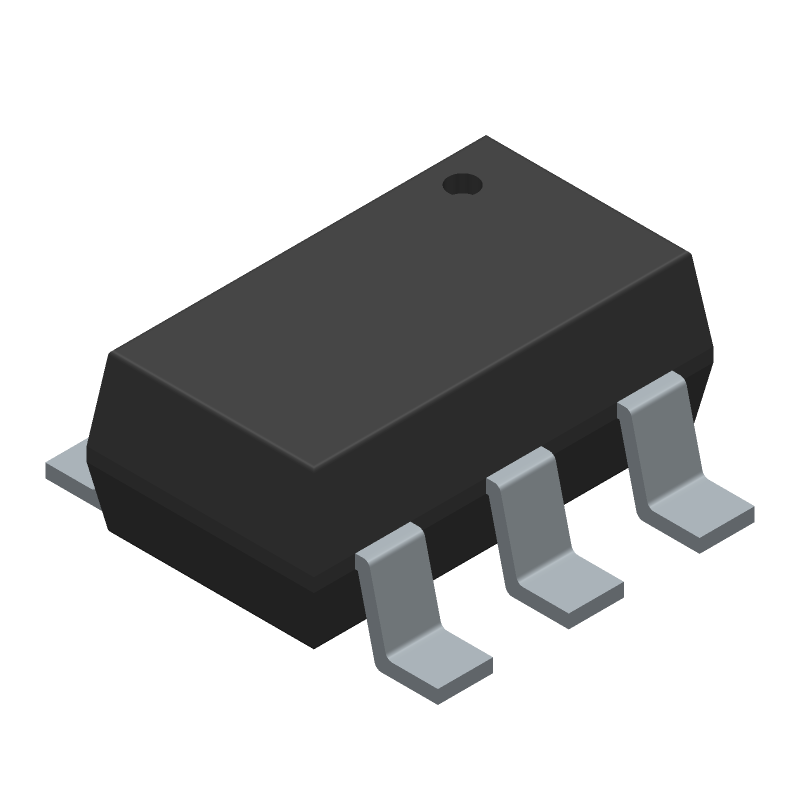 TONTEK TTP223E-BA6 (SOT23 (6-Pin)) 3D model isometric projection.
