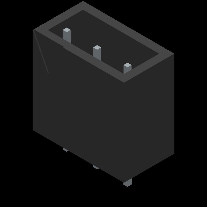 TB005-762-03BE - CUI Devices - 3D model - Header, Shrouded - Straight PTH Box - HEADER 1X3