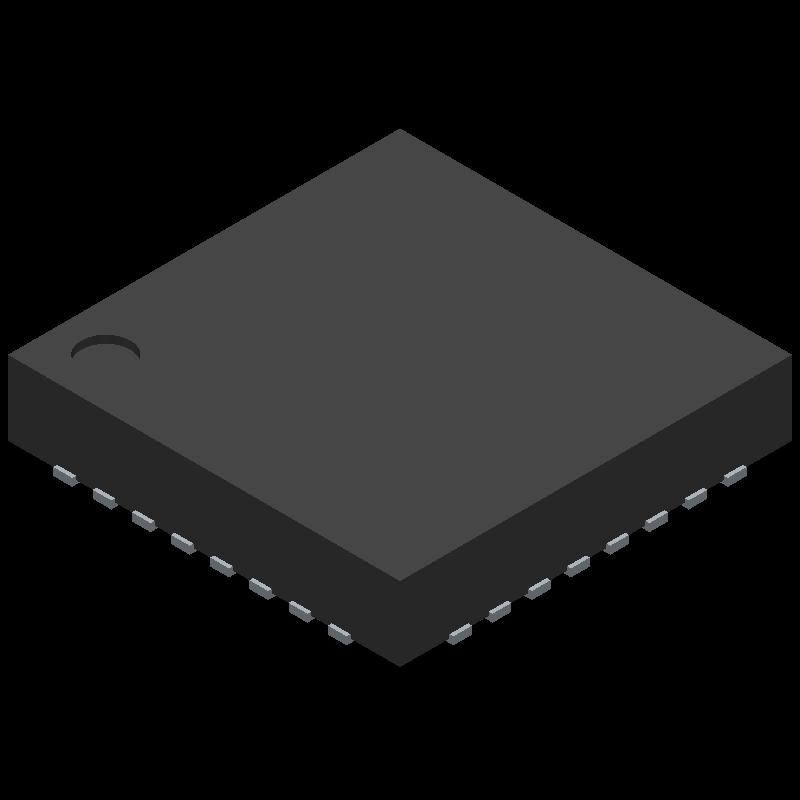Microchip ATMEGA328P-MU (Quad Flat No-Lead) 3D model isometric projection.