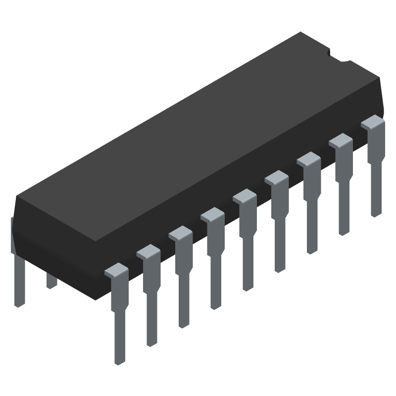 HT12E-18DIP - Holtek - 3D model - Dual-In-Line Packages - 18-pin DIP (300mil)