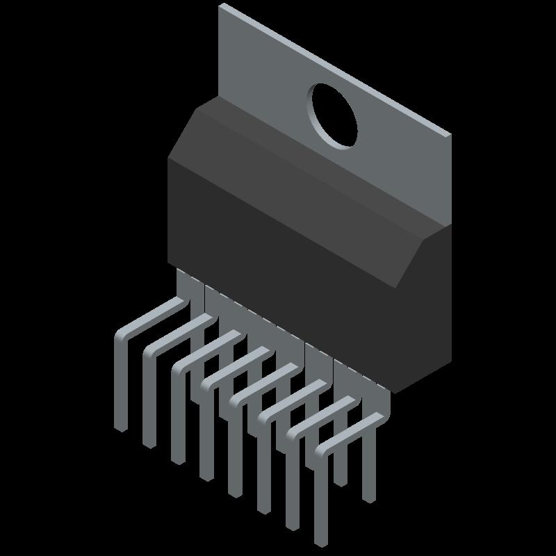 E-TDA7377 - STMicroelectronics - 3D model - Transistor Outline, Vertical - Multiwatt15 V