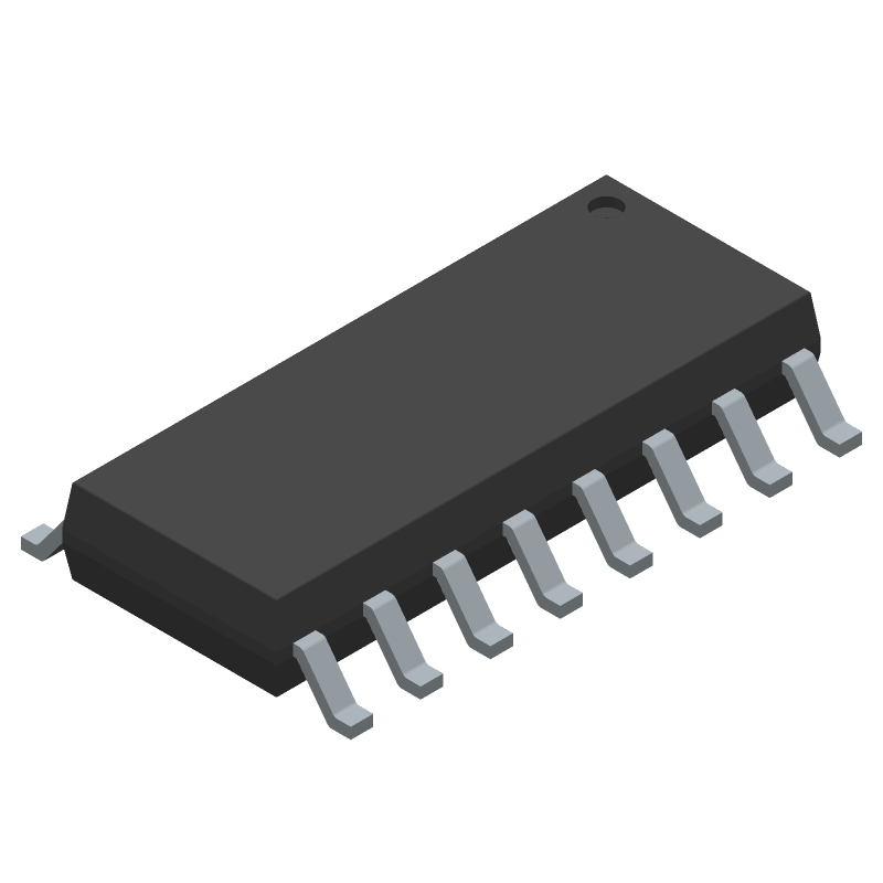 Texas Instruments MAX232EIDR (Small Outline Packages) 3D model isometric projection.