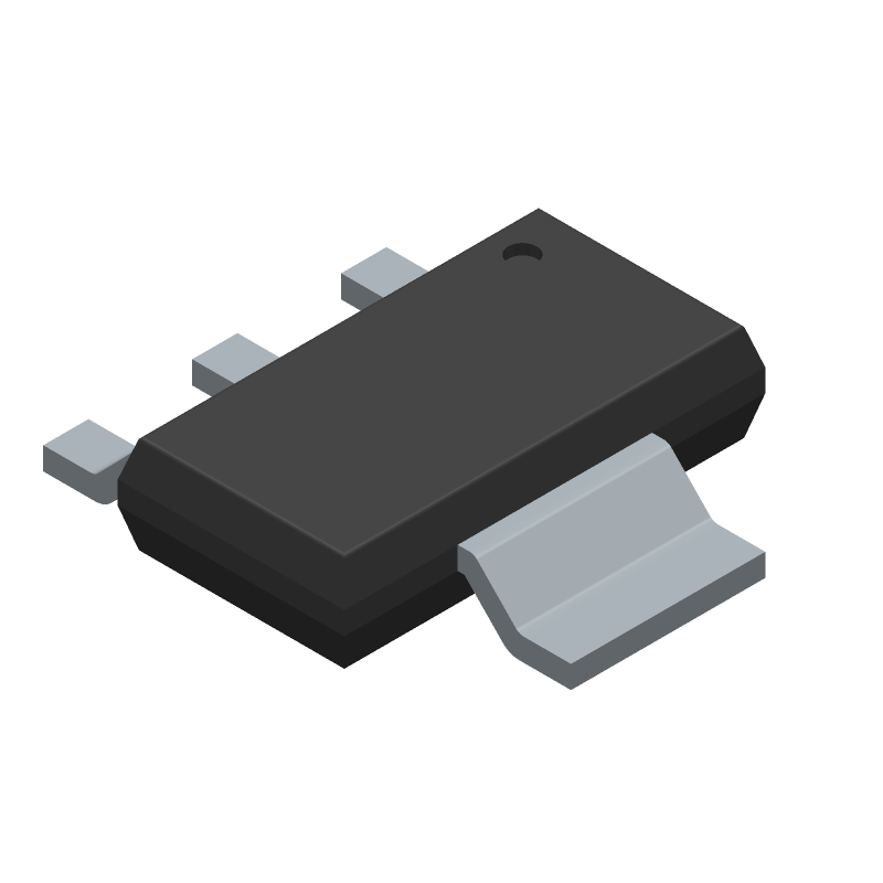 Diodes Inc. FZT689BTA (SOT223 (3-Pin)) 3D model isometric projection.
