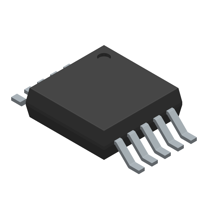 Analog Devices AD9833BRMZ (Small Outline Packages) 3D model isometric projection.