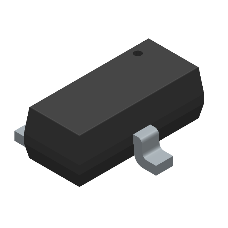 Infineon IRLML6402TRPBF (SOT23 (3-Pin)) 3D model isometric projection.