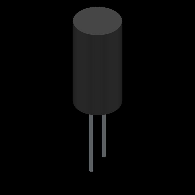 SEK100M050ST - Cornell Dubilier - 3D model - Capacitor, Polarized Radial Diameter - sek