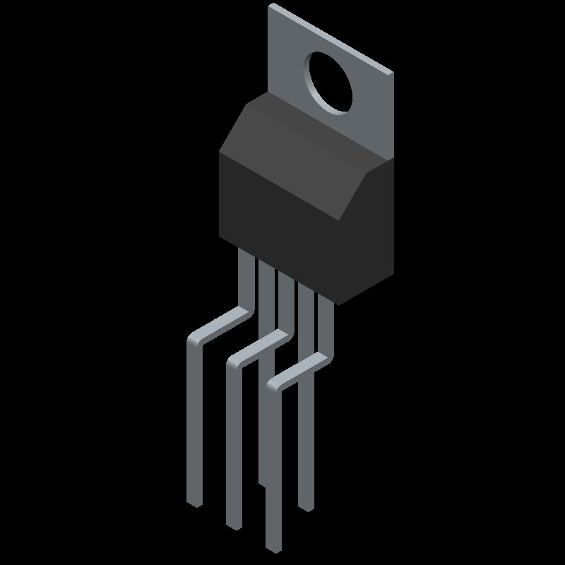 LM2596T-ADJ - Texas Instruments - 3D model - Transistor Outline, Vertical - NDH0005D