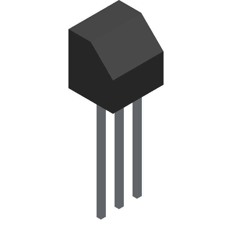 BC547BBU - Fairchild Semiconductor - 3D model - Transistor Outline, Vertical - 3-Lead TO-92 JEDEC TO-92