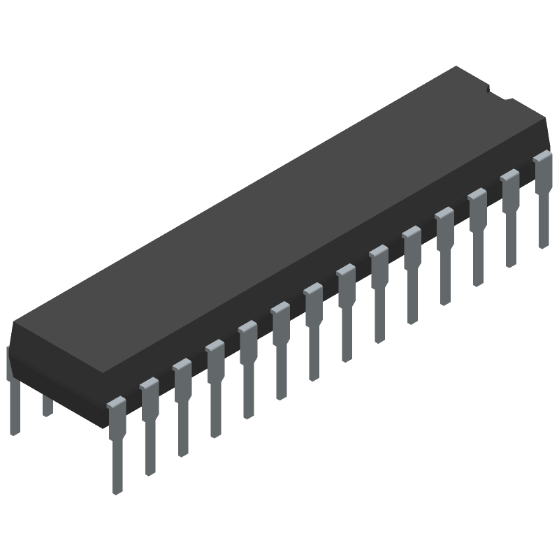 ATMEGA328P-PU - Microchip - 3D model - Dual-In-Line Packages - 28P3 7.62 row pitch