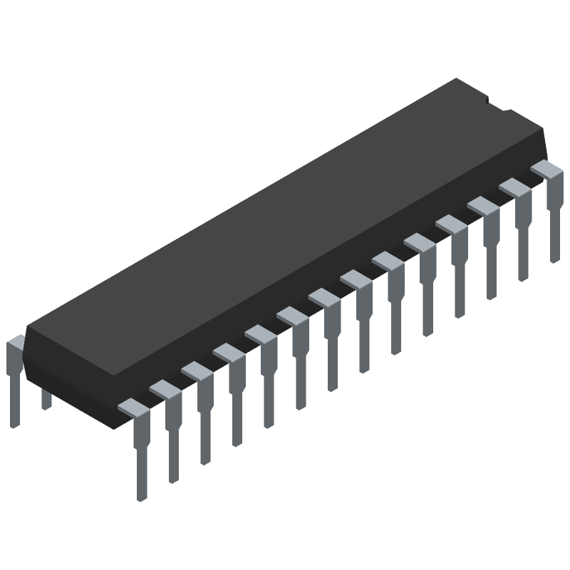 Microchip ATMEGA8L-8PU (Dual-In-Line Packages) 3D model isometric projection.