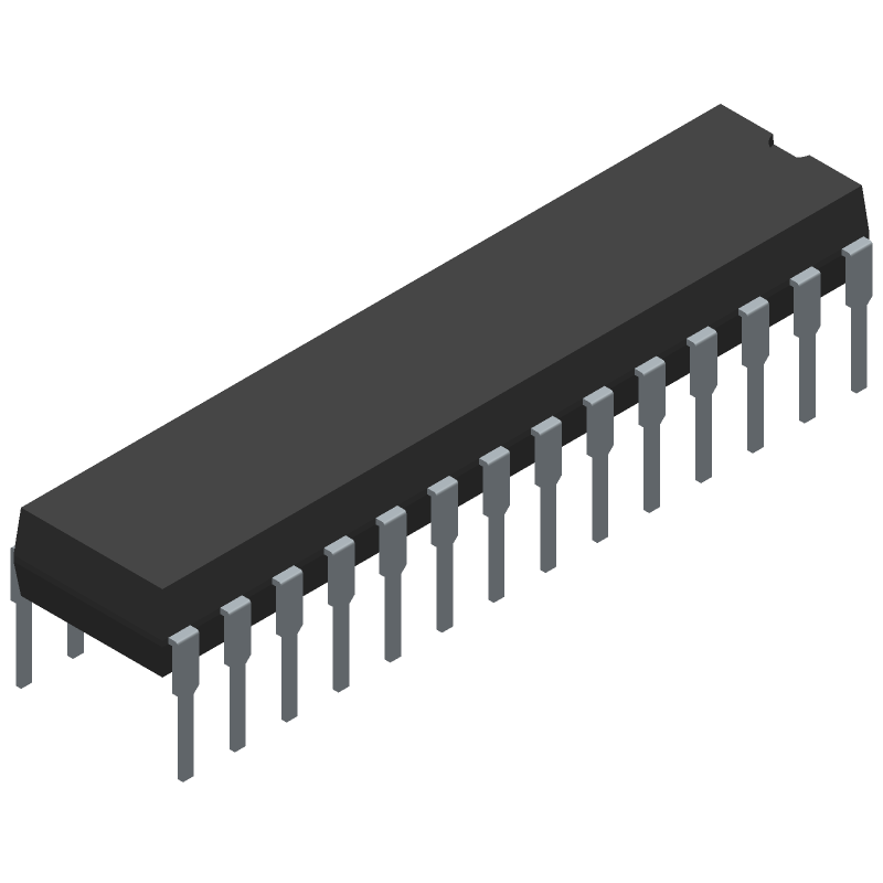 ATMEGA328P-PN - Microchip - 3D model - Dual-In-Line Packages - 28P3-ren1