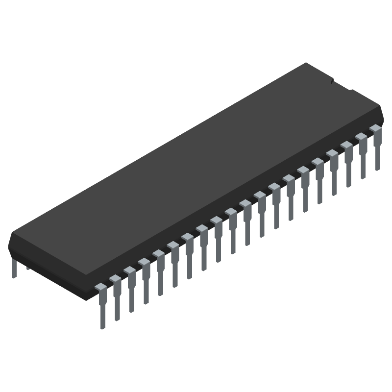 ATMEGA32A-PU - Microchip - 3D model - Dual-In-Line Packages - 40P6 - 40-Pin DIP