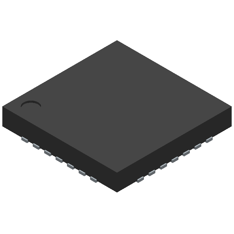 Silicon Labs CP2102N-A01-GQFN28R (Quad Flat No-Lead) 3D model isometric projection.