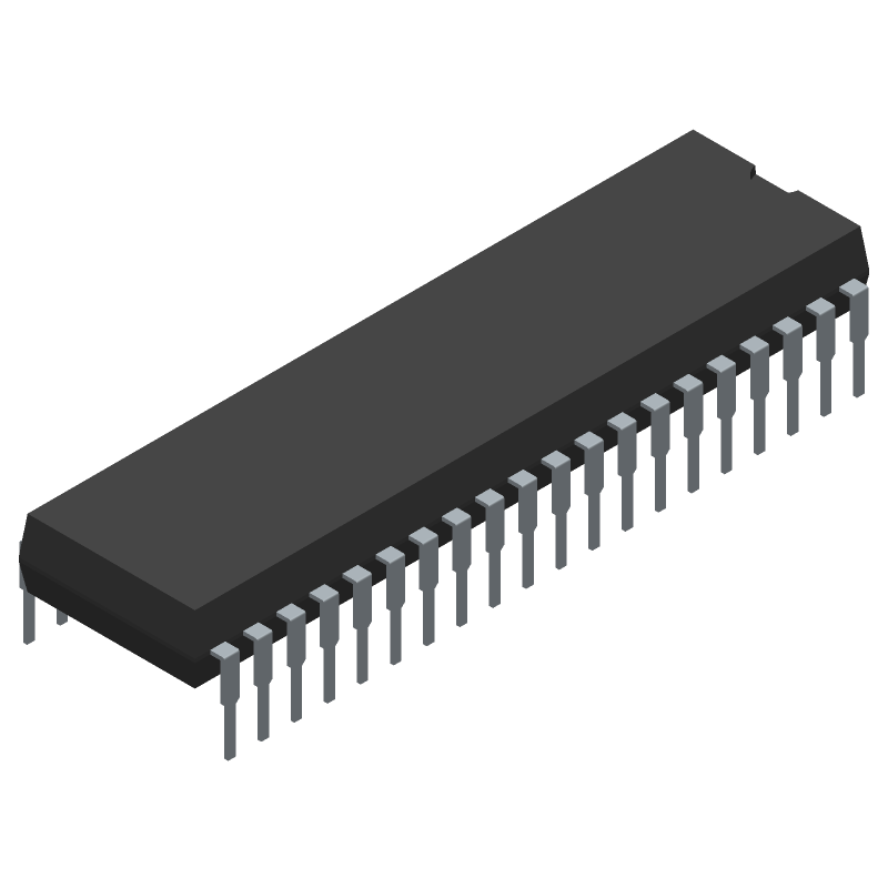 Microchip PIC18F45K20-E/P (Dual-In-Line Packages) 3D model isometric projection.