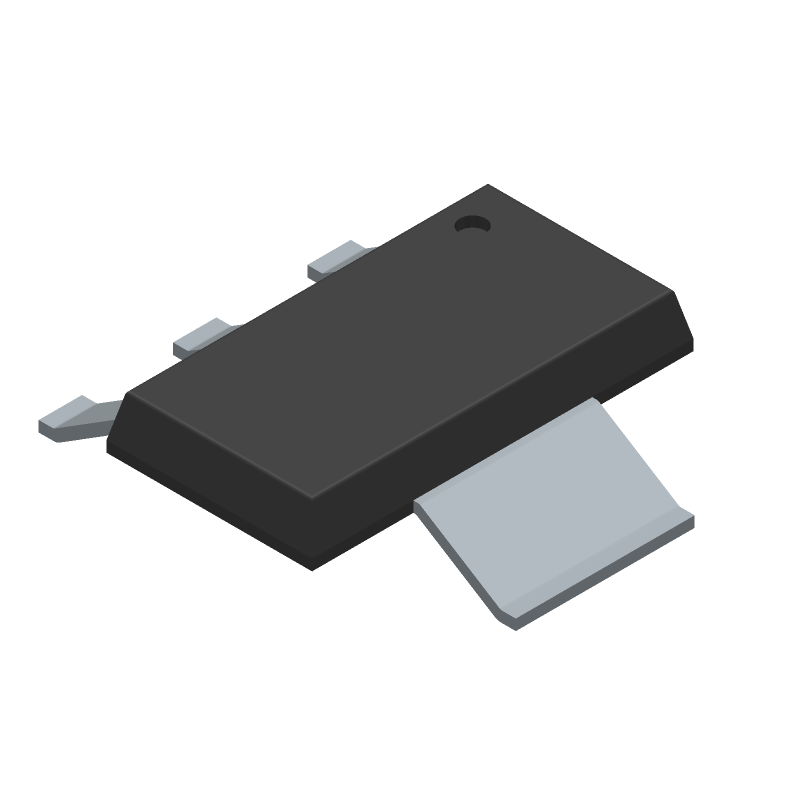 Advanced Monolithic Systems ams1117-3.3v (SOT223 (3-Pin)) 3D model isometric projection.