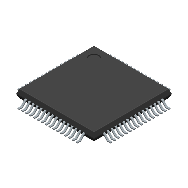 Microchip AT32UC3B0512-A2UR (Quad Flat Packages) 3D model isometric projection.