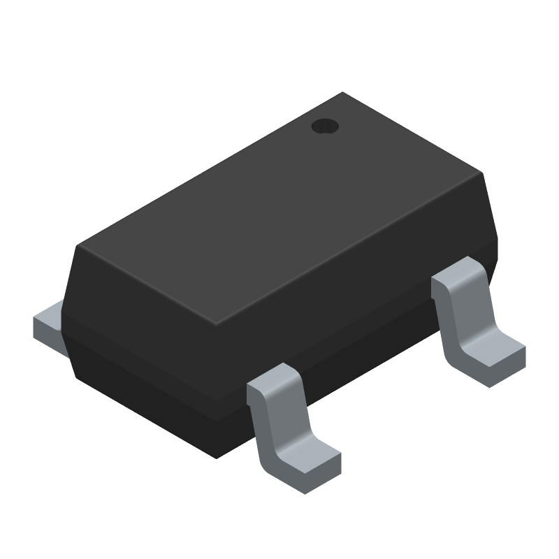 Microchip MIC5225-3.3YM5-TR (SOT23 (5-Pin)) 3D model isometric projection.