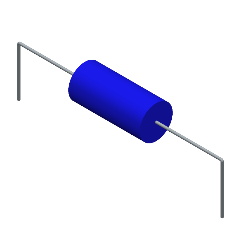 Bourns LPA1226-100KL (Inductors, Axial Diameter Horizontal Mounting) 3D model isometric projection.