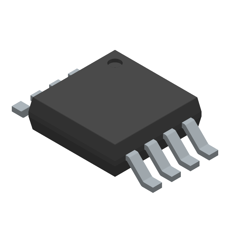 Texas Instruments LM358DGKR (Small Outline Packages) 3D model isometric projection.