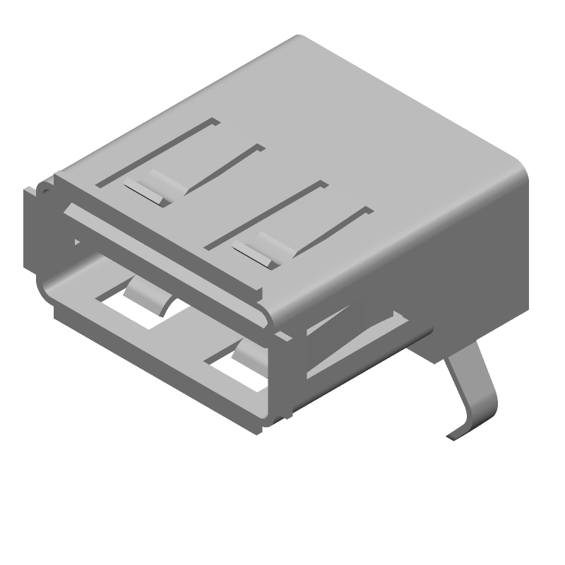 SAMTEC USB-A-S-F-B-TH-R (Other) 3D model isometric projection.
