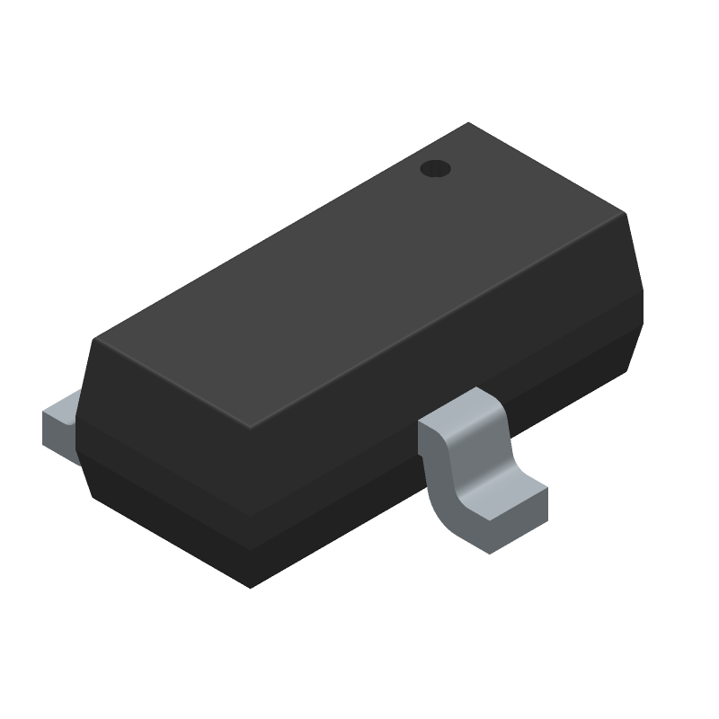 ON Semiconductor BSS123 (SOT23 (3-Pin)) 3D model isometric projection.