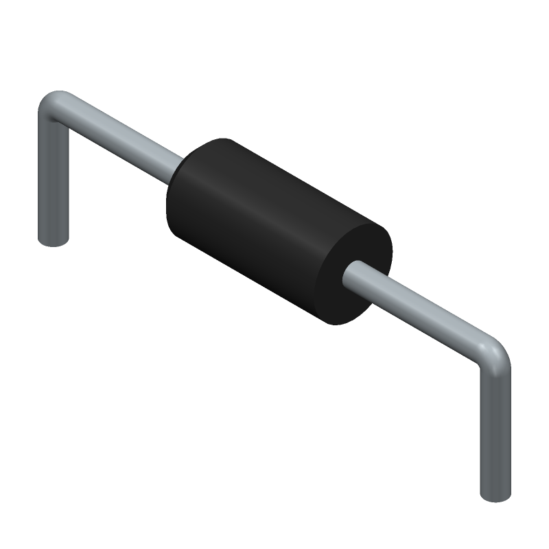 ON Semiconductor 1N4148TA (Diodes, Axial Diameter Horizontal Mounting) 3D model isometric projection.