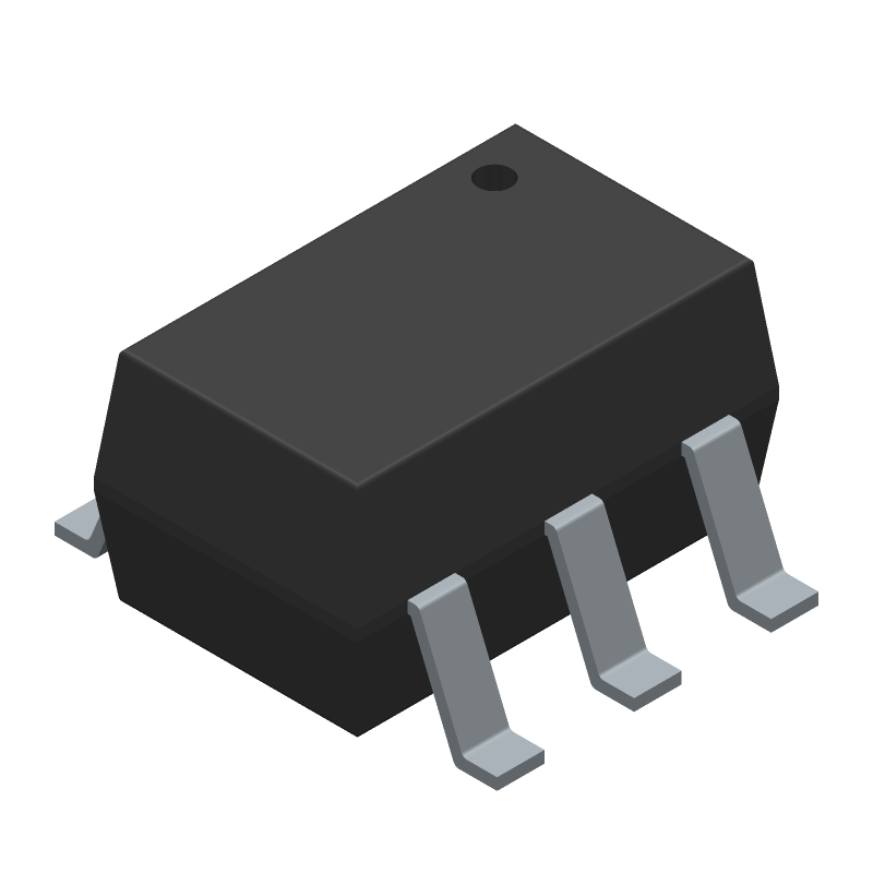 Vishay SI1555DL-T1-E3 (SOT23 (6-Pin)) 3D model isometric projection.